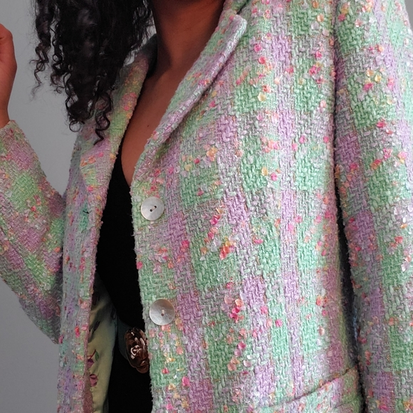 Linea by Louis Dell'Olio Jackets & Blazers - Mint and lilac boucle blazer